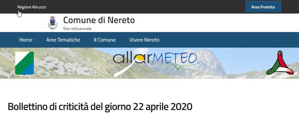 Applicativo allarme meteo sul sito web di Nereto