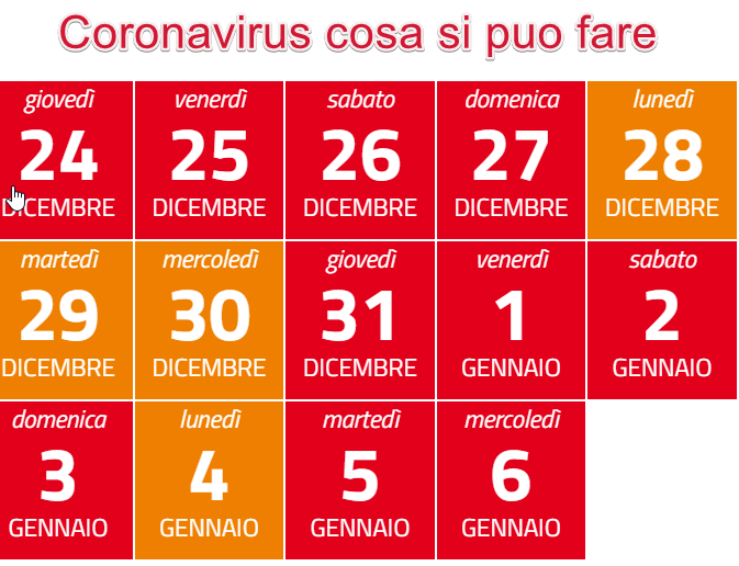 Risposte ai dubbi sulle misure CORONAVIRUS dal 24 dicembre 2020 al 6 gennaio 2021